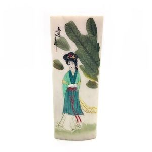 Asian Illustration Hand Painted Marble Plaque 1960